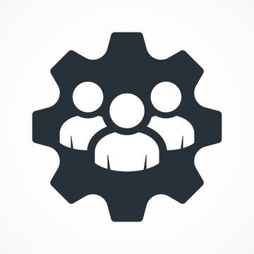 Management Icon. Teamwork management icon. Business team. Company leader, supervisor. Partnership icon. Organization workforce. Facility