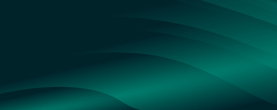 Modern simple dark green and black abstract background for wide banner. Luxury dark green background with overlap 3D layer