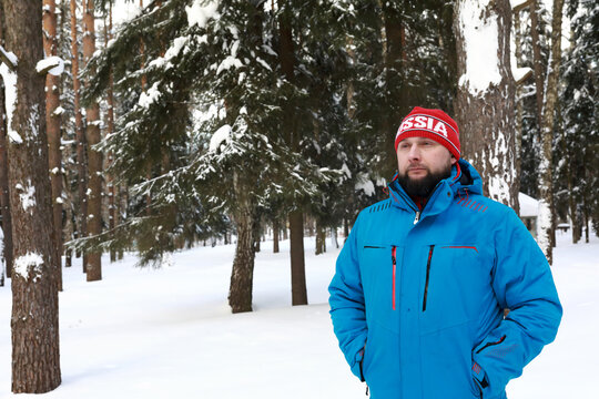 Portrait of thinking man in winter park