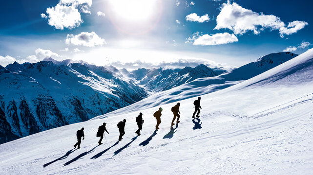 Climbers trekking together in the majestic summit mountains and a harmonious, successful team