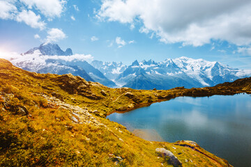 Great Mont Blanc glacier with Lac Blanc. Location place Chamonix resort, Graian Alps, France, Europe.