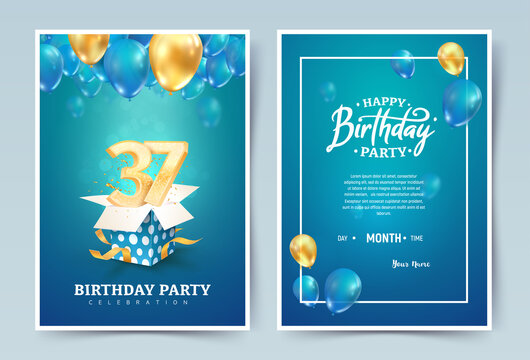 37 th years birthday vector invitation double card. Thirty seven years anniversary celebration brochure. Template of invitational for print on blue background