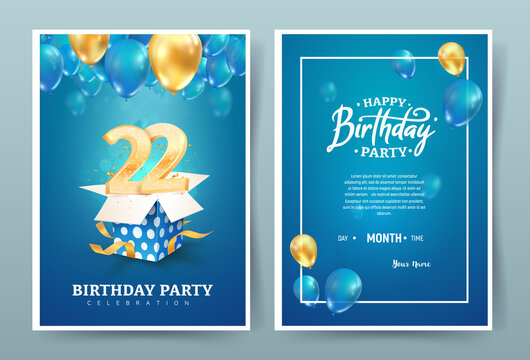 22nd years birthday vector invitation double card. Twenty two years anniversary celebration brochure. Template of invitational for print on blue background