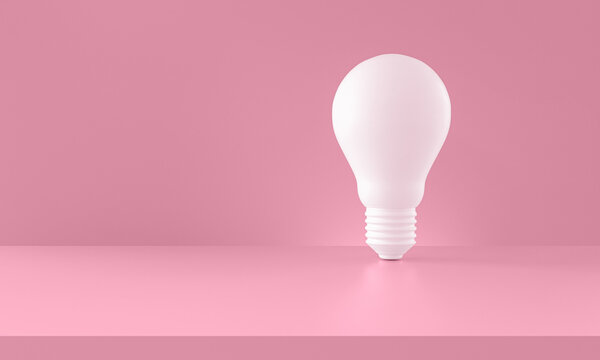 Light bulb white on pink background. Creativity and innovation ideas concept. 3d rendering. Horizontal composition with copy space.