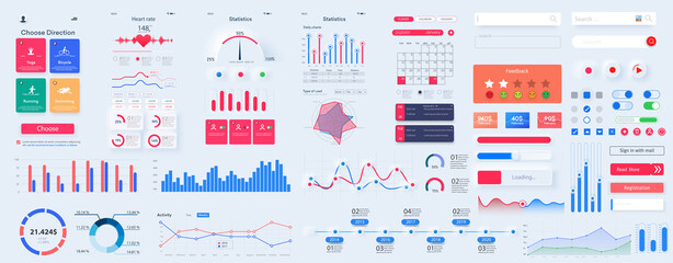 Obraz Different UI, UX, GUI mobile screens modern infographic. Diagram template and chart graph. Flat web icons for mobile apps, responsive website including. Web design and mobile template. Stock vector - fototapety do salonu