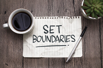 Fototapeta Set boundaries, text words typography written on paper against wooden background, life and business motivational inspirational obraz