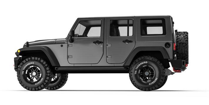 AUSTIN, UNITED STATES - Feb 01, 2021: Rendering of a black Jeep Wrangler