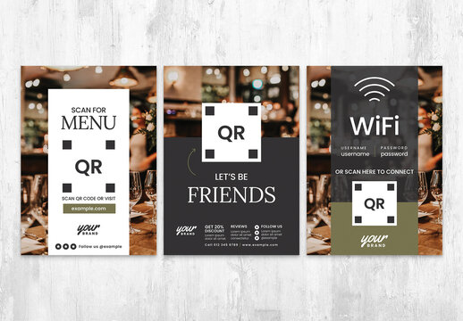 QR Code for Menu Contact and Connect to Wifi