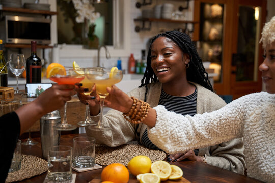 Black girlfriends toast to strong friendship connections