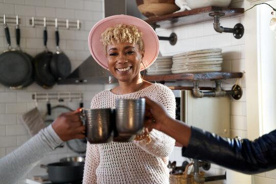Black women cheer to self care retreat weekend getaway starting