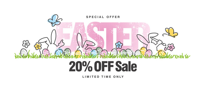 Special offer Sale 20% off. Easter white background with butterfly, rabbit and spring flowers colorful eggs in a pattern of green grass