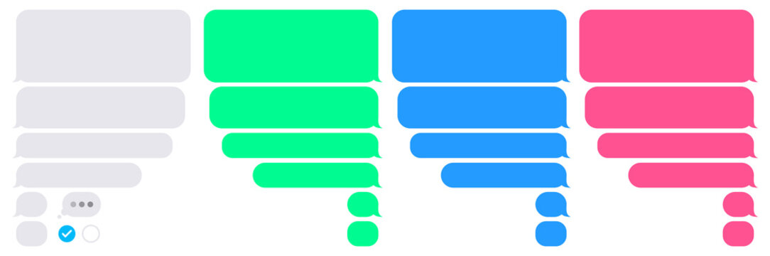 Phone bubbles sms empty set. Isolated chat app bubble on white background. Conversation composer for smartphone interface. Flat UI design in gray, blue, green, pink message. Vector illustration.