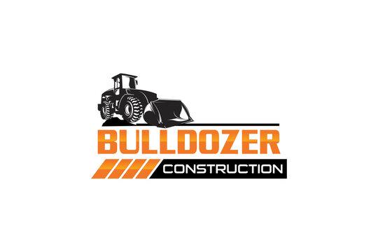 Bulldozer logo template vector. Heavy equipment logo vector for construction company. Creative excavator illustration for logo template.