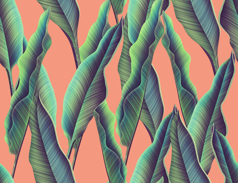 Seamles Leaves Pattern In Elegant Style. Tropical palm leaves, jungle leaves seamless floral pattern background