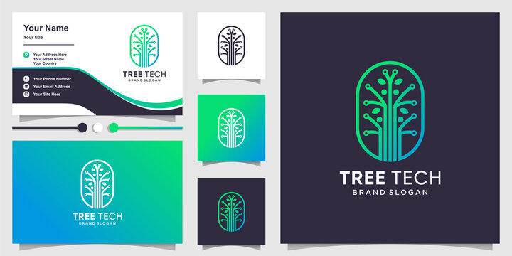 Tree tech logo template with creative concept and business card design Premium Vector