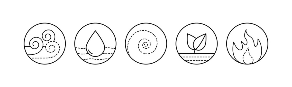 Five elements of Ayurveda vector outline illustration. Circle icon of either water wind eath and fire symbols