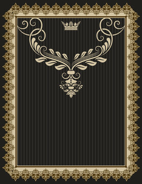 Vintage background with ornamental border and decorative elemants.