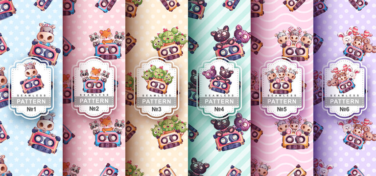 Set cartoon character animal with cassette - seamless pattern