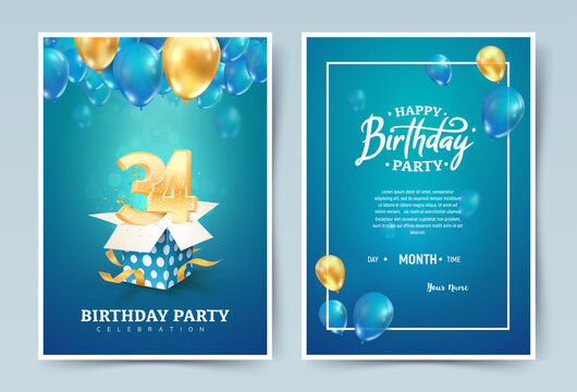 34 th years birthday vector invitation double card. Thirty four years anniversary celebration brochure. Template of invitational for print on blue background