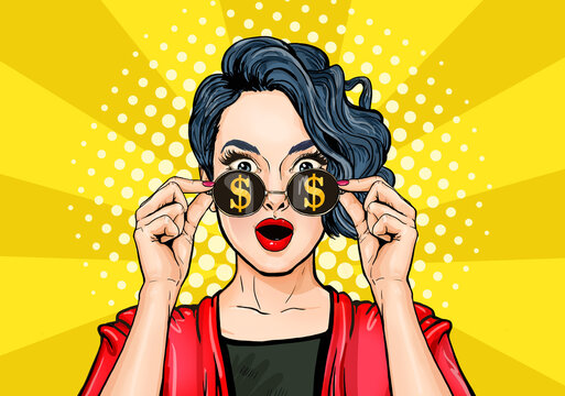 Amazing woman in glasses with dollar sign get rich. Casino player or lottery winner.Lucky girl see big money,financial success. Surprised, shocked lady with open mouth.