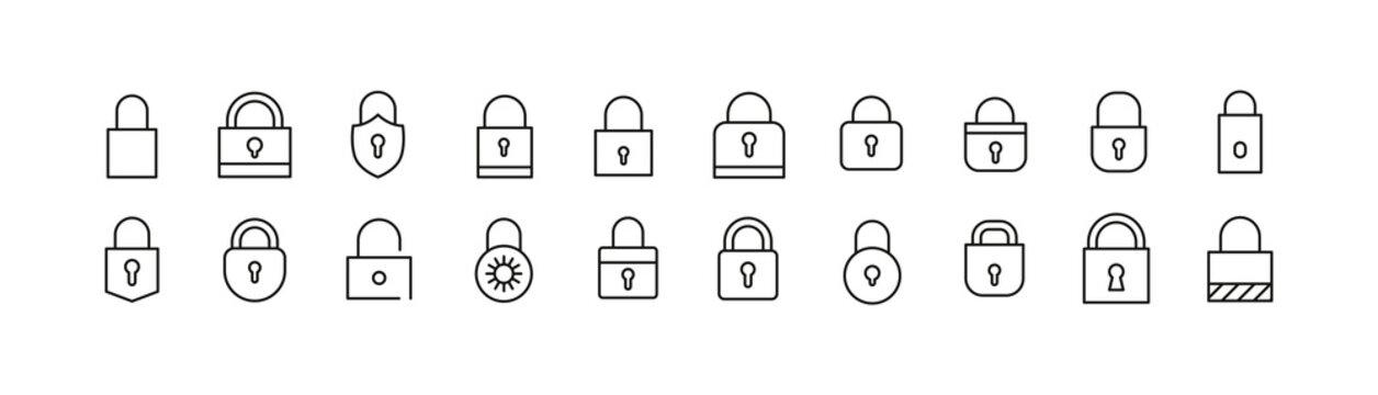 Stroke vector lock line icons.
