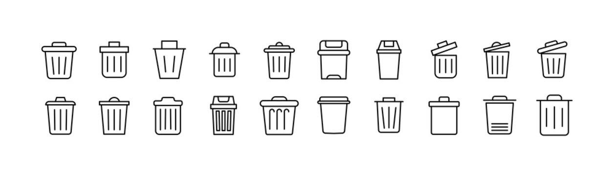 Simple line set of trash icons.