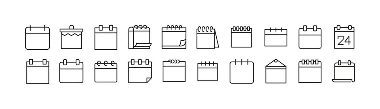 Vector set of calendar thin line icons.