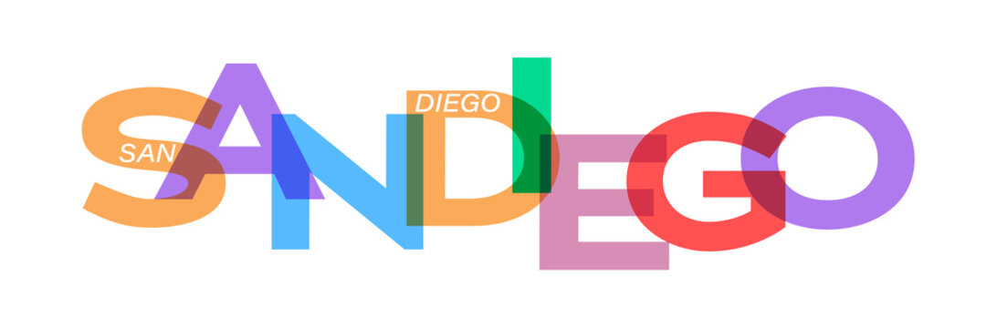 SAN DIEGO. Lettering on a white background. Vector design template for poster, map, banner