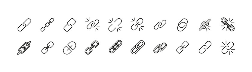 Set of simple link line icons.
