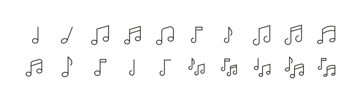 Editable vector pack of music note line icons.