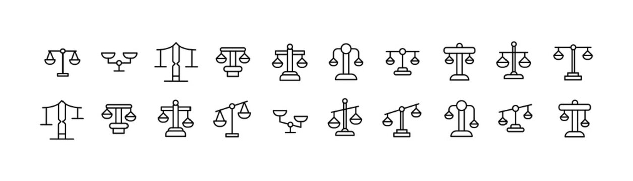 Set of scales line icons.