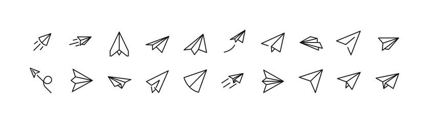 Fototapeta Stroke vector paper plane line icons.