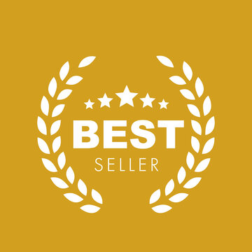 Gold Best seller badge logo design. Vector