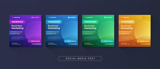 Fototapeta Business marketing webinar social media post template