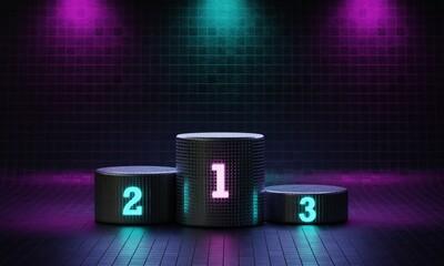 Obraz Cyberpunk cylinder winner podium on spotlight background with neon emission number place. Futuristic scene style concept. Studio platform. Exhibition presentation stage. 3D illustration render graphic - fototapety do salonu