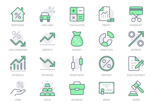 Finance investment simple line icons. Vector illustration with minimal icon - briefcase, portfolio, certificate, gold bar, mortgage, quotes, car loan pictogram. Green Color Editable Stroke