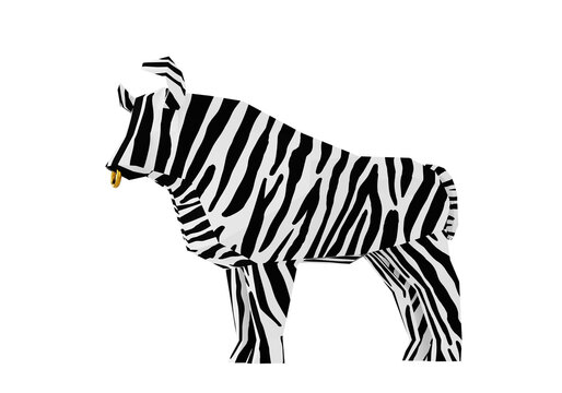 Low poly Black-and-white Striped Bull, 3d render