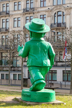 green Ampelmann as symbol for the german reunification in Wiesbaden, germany by artist Ottmar Hoerl