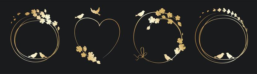 Fototapeta Frames for Wedding invitation. Set vector design elements, golden floral frames. obraz