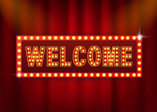 Retro banner welcome on purple backdrop. Light effect. Bright star. Vector design banner. Game sign.