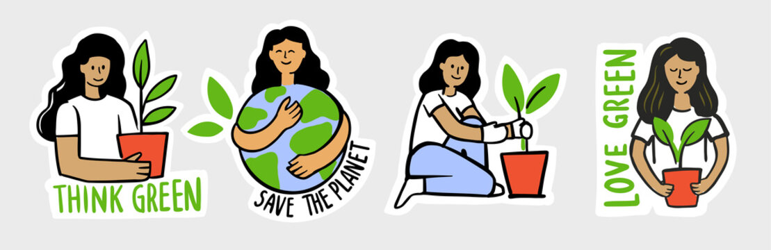Ecologic labels. Eco safe emblems, green safe lettering. Sticker girl with earth and plant.