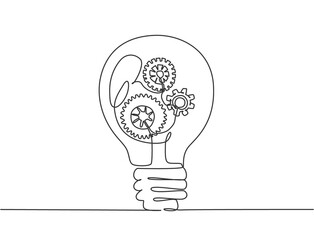 Single continuous line drawing of clean lightbulb with gear wheel mechanic inside for logo label. Creative workshop logotype symbol template concept. Dynamic one line draw graphic vector illustration