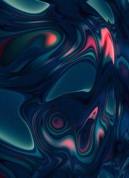 Hallucinogen distorted texture. Surface displacement. Weird trippy iridescent background. Alien skin pattern.
