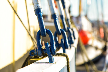 Close up of d-closures on an old ship in the harbor of Den Helder, Netherlands.