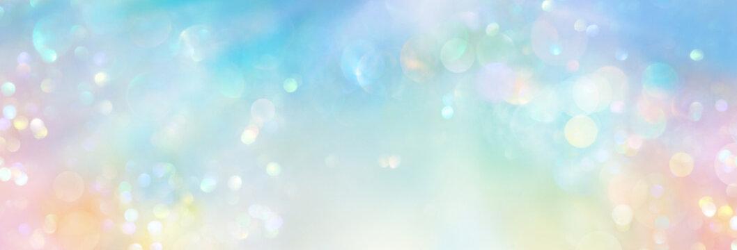 Pastellfarbenes Banner hell leuchtenden Lichts in sphärischem Feld kosmischer Energie mit viel Freiraum für Text und individuelle Gestaltung