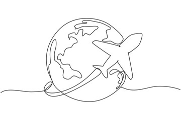 Single one line drawing of airplane fly through the sky. Globe icon silhouette for tours and travel concept. Infographics, business presentation on white background. Design vector graphic illustration