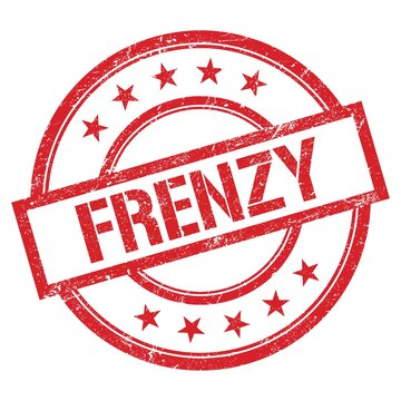 FRENZY text written on red vintage stamp.