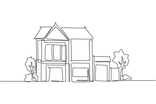 Single one line drawing of green fresh modest house at countryside. Home eco building construction isolated doodle minimal concept. Trendy continuous line draw design graphic vector illustration
