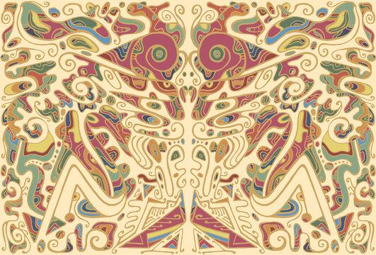 Whimsical original tribal colorful psychedelic kaleidoscope fantastic background.