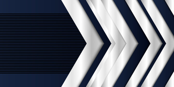 Modern simple blue silver white metallic arrow background. Business background silver blue.  Abstract dark blue background with texture effect overlap layer design. Futuristic modern background.